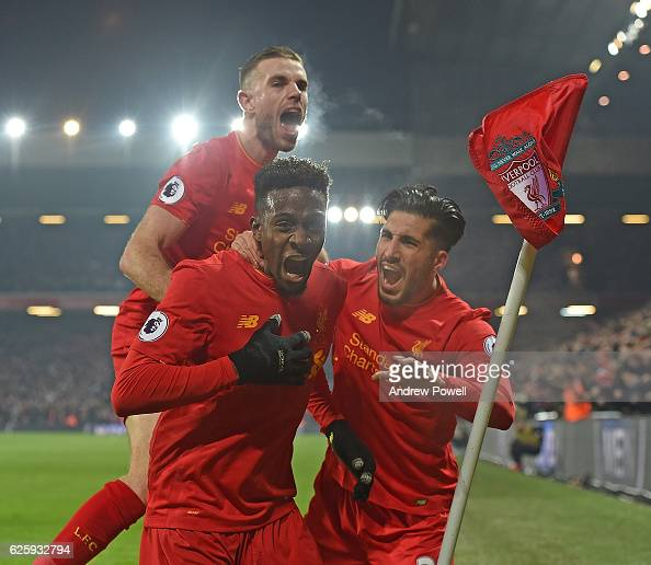 Divock Origi Scores the opener for Liverpool and celebrates during the Premier League match between Liverpool and Sunderland at Anfield on November...