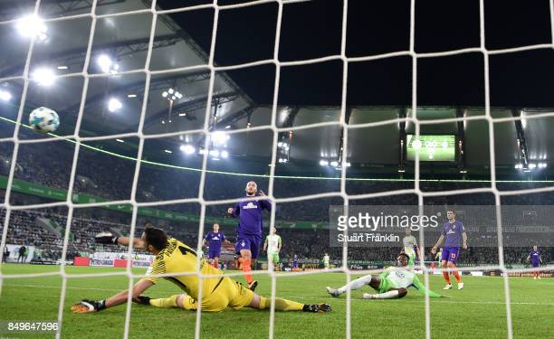 Divock Origi Wolfsburg scores his goal during the Bundesliga match between VfL Wolfsburg and SV Werder Bremen at Volkswagen Arena on September 19...
