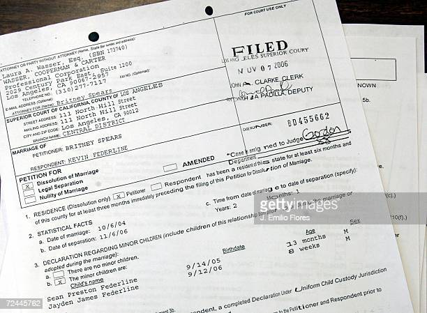 Divorce papers show that Britney Spears has filed for divorce from Kevin Federline in Los Angeles Superior Court November 7 2006 in Los Angeles...