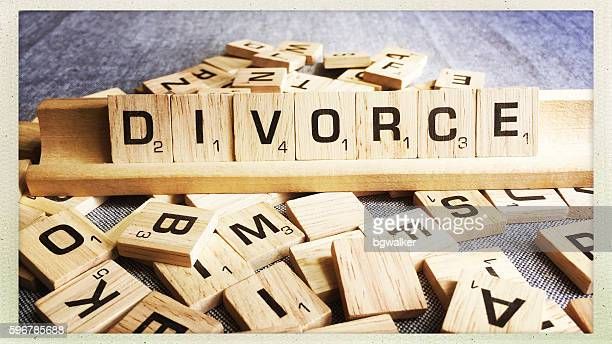 Divorce Spelled with Scrabble Tiles Letters