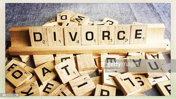 Divorce Spelled with Scrabble Tiles