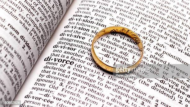 Divorce wedding ring on dictionary