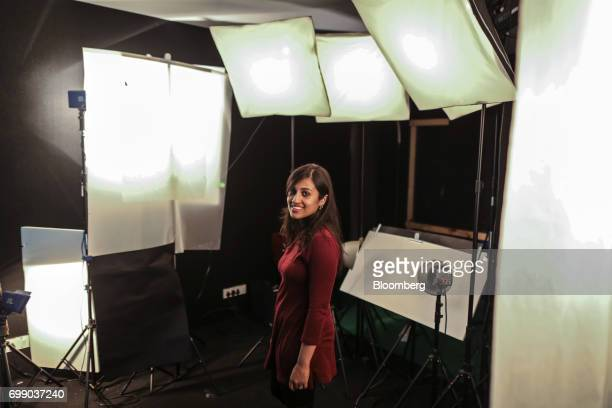 Divya Gokulnath a biotech engineer and teacher poses for a photograph while recording a voiceover for the BYJU'S learning app in the recording studio...