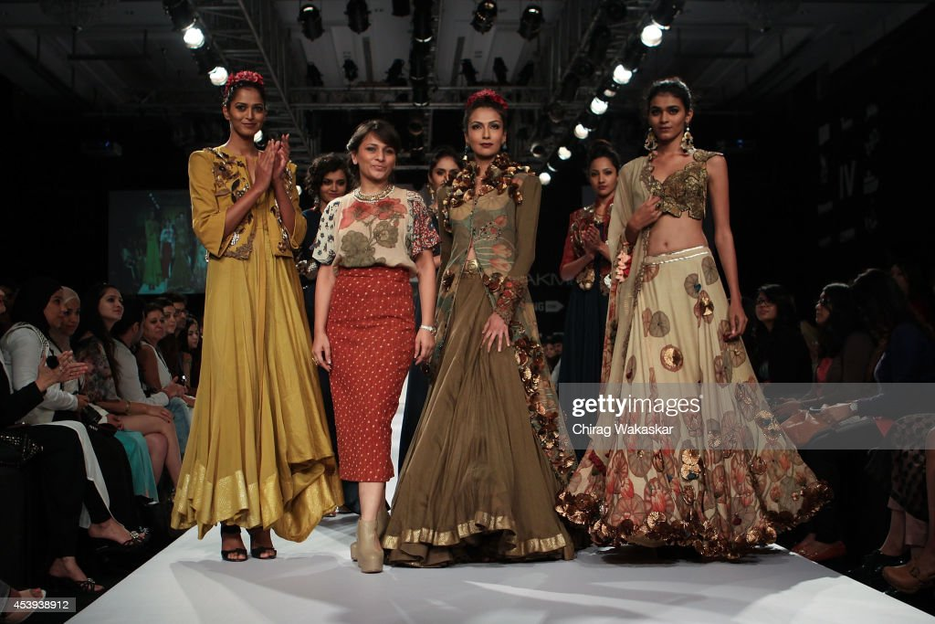 Divya Sheth walks the runway during day 2 of Lakme Fashion Week Winter/Festive 2014 at The Palladium Hotel on August 21, 2014 in Mumbai, India.