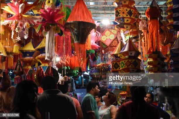 Diwali shopping at APMC Market on October 14 2017 in Navi Mumbai India