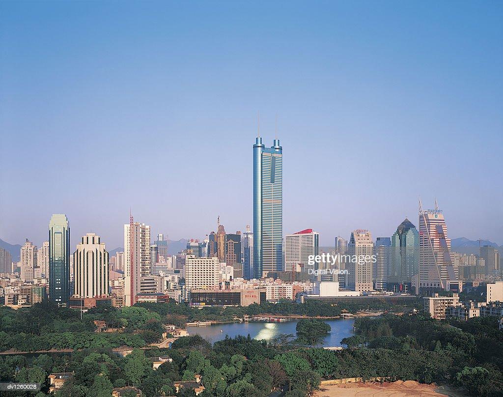 Diwang Building on Shenzhen Skyline, Guangdong Province, China
