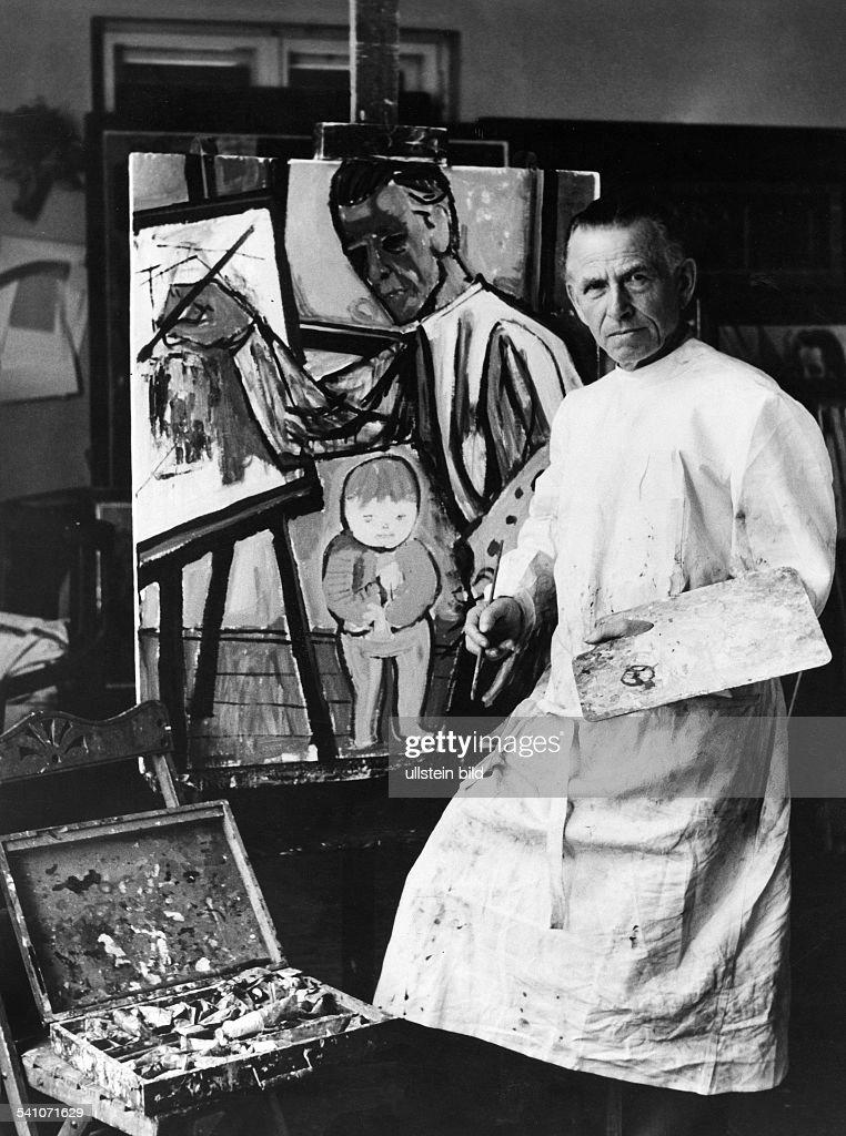 Dix, Wilhelm Heinrich Otto *02.12.1891-+Maler, Grafiker, D- Portrait im Atelier- um 1950Foto: Fritz Eschen