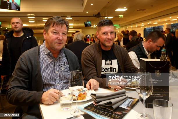 Dixie Doerner and son Steffen pose during the Club of Former National Players Meeting at Signal Iduna Park on March 22 2017 in Dortmund Germany