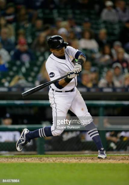 Dixon Machado of the Detroit Tigers bats against the Cleveland Indians during game two of a doubleheader at Comerica Park on September 1 2017 in...