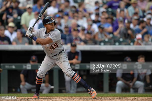 Dixon Machado of the Detroit Tigers bats against the Colorado Rockies during a game at Coors Field on August 30 2017 in Denver Colorado