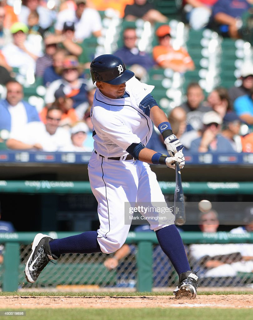 Dixon Machado #49 of the Detroit Tigers bats during the first game of a doubleheader against the Chicago White Sox at Comerica Park on September 21, 2015 in Detroit, Michigan. The White Sox defeated the Tigers 2-0.
