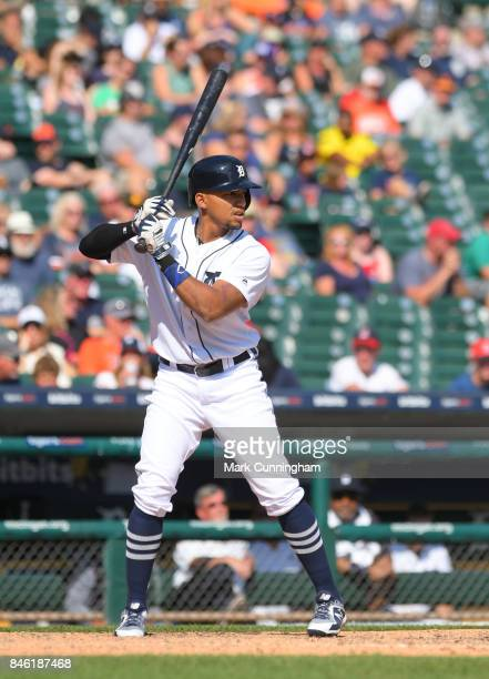 Dixon Machado of the Detroit Tigers bats during the game against the Cleveland Indians at Comerica Park on September 3 2017 in Detroit Michigan The...