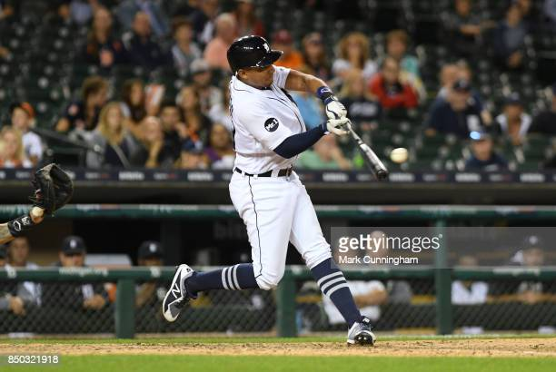 Dixon Machado of the Detroit Tigers bats during the game against the New York Yankees at Comerica Park on August 23 2017 in Detroit Michigan The...