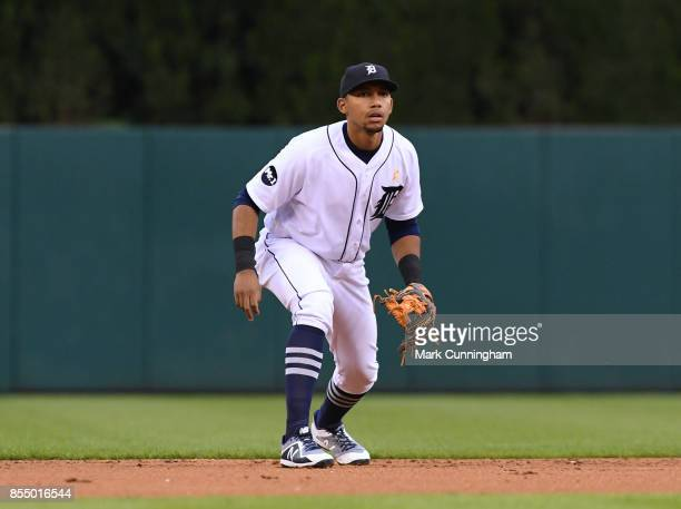 Dixon Machado of the Detroit Tigers fields during game two of a double header against the Cleveland Indians at Comerica Park on September 1 2017 in...