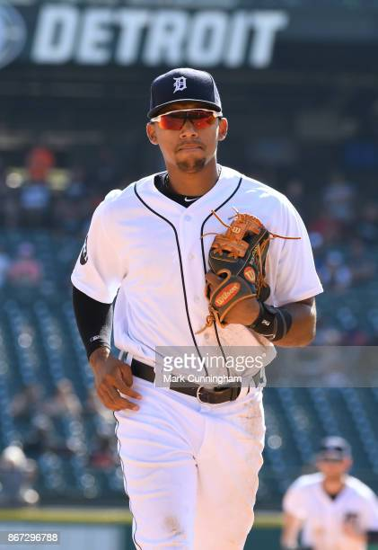 Dixon Machado of the Detroit Tigers looks on during the game against the Minnesota Twins at Comerica Park on September 24 2017 in Detroit Michigan...