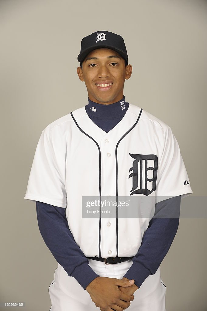 Dixon Machado #54 of the Detroit Tigers poses during Photo Day on February 19, 2013 at Joker Marchant Stadium in Lakeland, Florida.