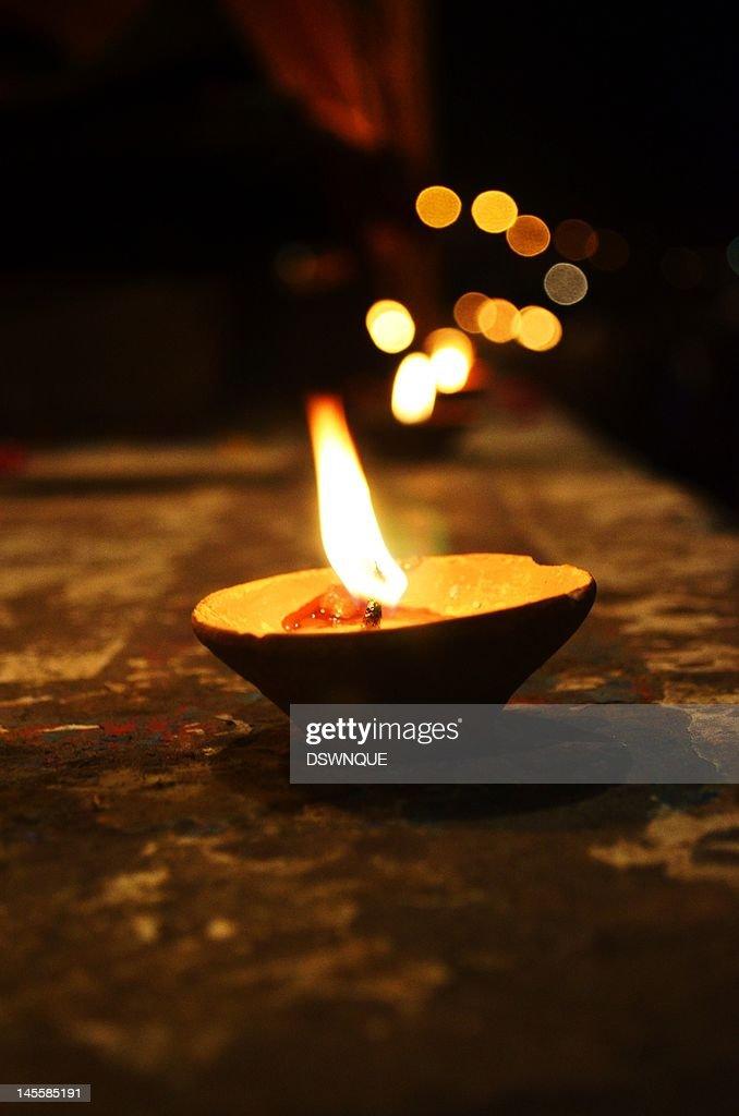 Diya in Varanasi : Stock Photo