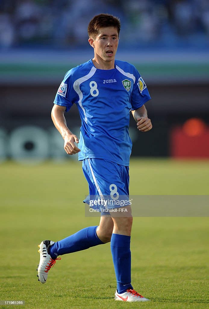 Diyorjon Turapov of Ukbekistan in action during the FIFA U20 World Cup Group F match between Ukbekistan and Uruguay at Akdeniz University Stadium on June 29, 2013 in Antalya, Turkey.