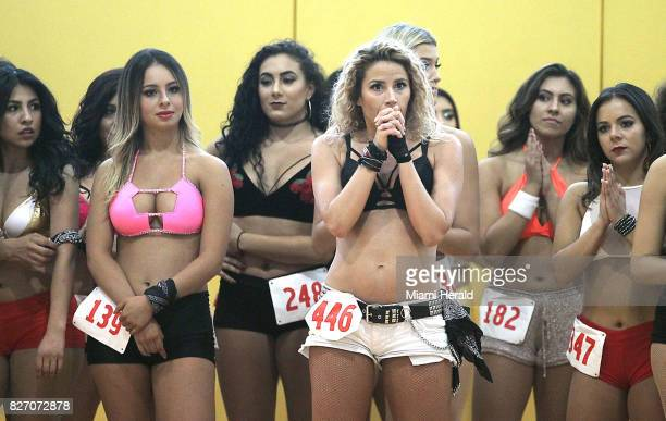 Dize Kandu of Miami Beach center and other dance team hopefuls wait for instructions at the HEAT Dancer Auditions on Sunday Aug 6 2017 at the...