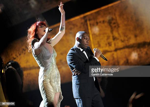 Dizzee Rascal and Florence Welch of Florence and the Machine perform live on stage on stage at The Brit Awards 2010 at Earls Court on February 16...