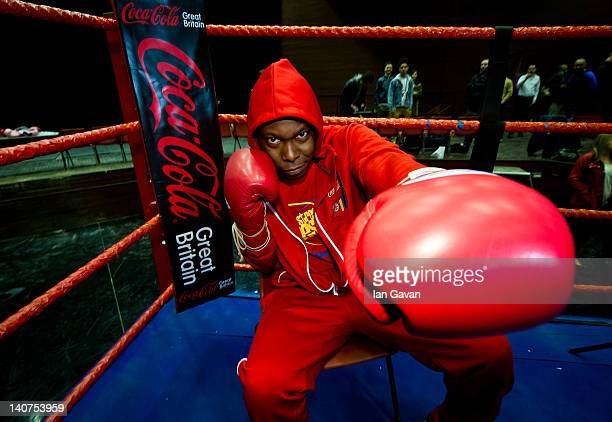 Dizzee Rascal gets into the ring for CocaCola's London 2012 Olympic Paralympic Games ticket promotion at The Boxing Gym Lilian Baylis Old School on...