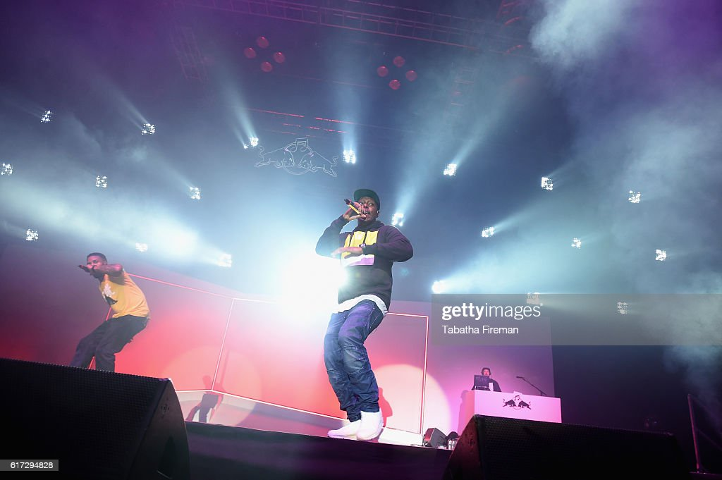 Dizzee Rascal (C) performs his debut album Boy In Da Corner Live as part of the Red Bull Music Academy UK Tour at Copper Box Arena on October 22, 2016 in London, England.