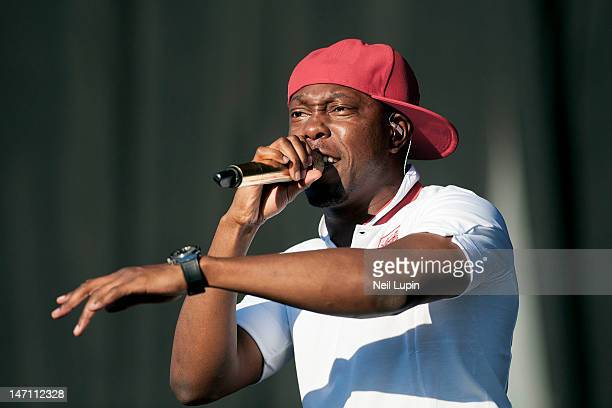 Dizzee Rascal performs on stage during BBC Radio 1 Hackney Weekend at Hackney Marshes on June 24 2012 in Hackney United Kingdom