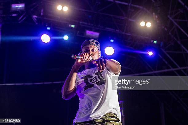 Dizzee Rascal performs on the main stage headlining at the end of day 2 of Y Not Festival at Pikehall on August 2 2014 in Matlock United Kingdom
