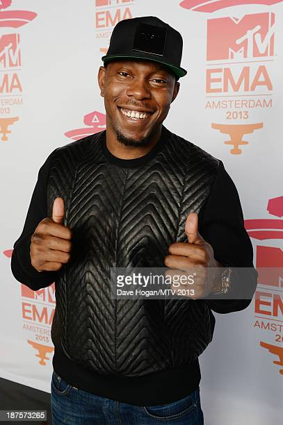 Dizzee Rascal poses in the Exclusive Arrivals Studio during MTV EMA's 2013 at the Ziggo Dome on November 10 2013 in Amsterdam Netherlands