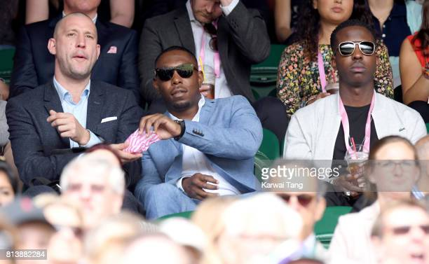 Dizzie Rascal and Jamal Edwards attend Wimbledon 2017 as evian guests during day 11 on July 13 2017 in London England