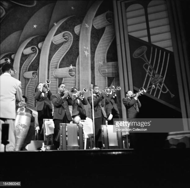 Dizzy Gillespie conducts his BeBop Orchestra at the Strand Theater on Broadway on December 10 1948 in New York New York