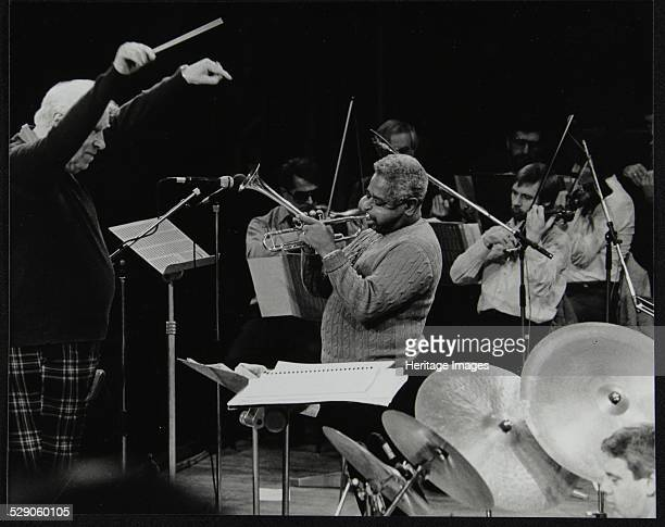 Dizzy Gillespie playing with the Royal Philharmonic Orchestra Royal Festival Hall London 1 November 1985 The conductor is Robert Farnon and Martin...