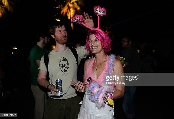 Dj Aphex Twin with guest during day 1 of the Coachella Valley Music and Arts Festival at the Empire Polo Field on April 25 2008 in Indio California