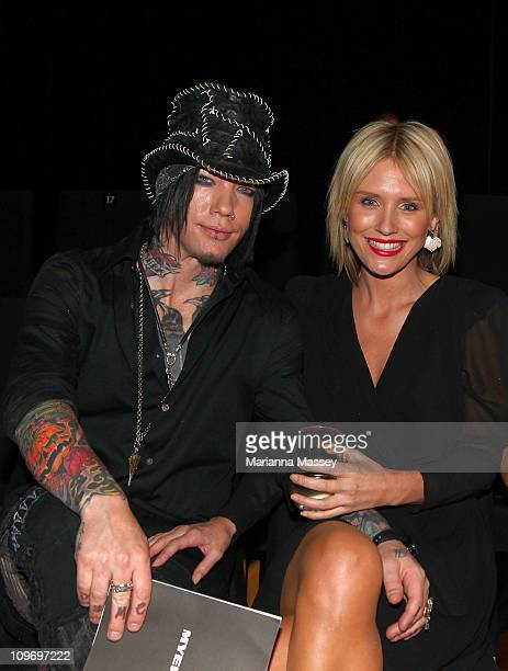 Dj Ashba and Nicky Whelan arrive at the Myer Autumn/Winter Season Launch 2011 at The Royal Exhibition Building on March 1 2011 in Melbourne Australia