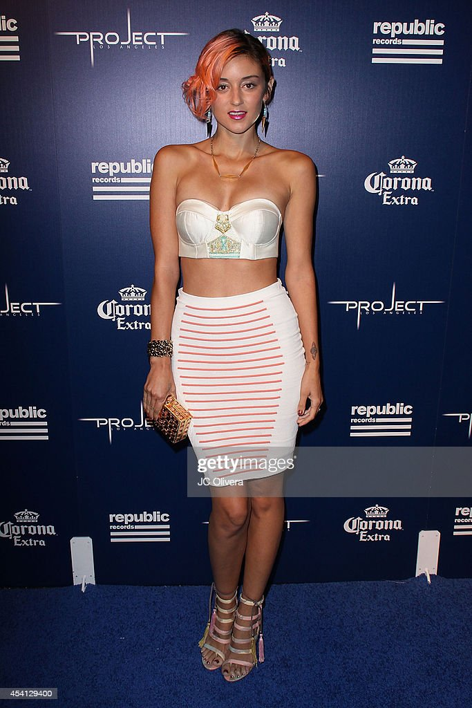 Dj <a gi-track='captionPersonalityLinkClicked' href=/galleries/search?phrase=Caroline+D%27Amore&family=editorial&specificpeople=210529 ng-click='$event.stopPropagation()'>Caroline D'Amore</a> attends Republic Records Official VMA After Party Red Carpet at Project La on August 24, 2014 in Los Angeles, California.
