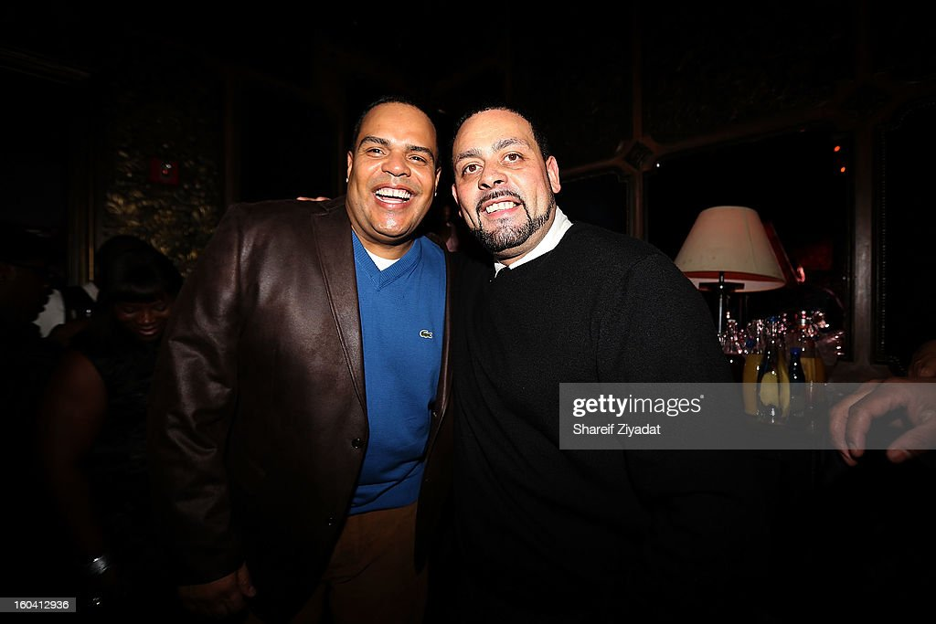 Dj Enuff and James Cruz attend the birthday celebration of DJ Enuff at The Griffin on January 30, 2013 in New York City.