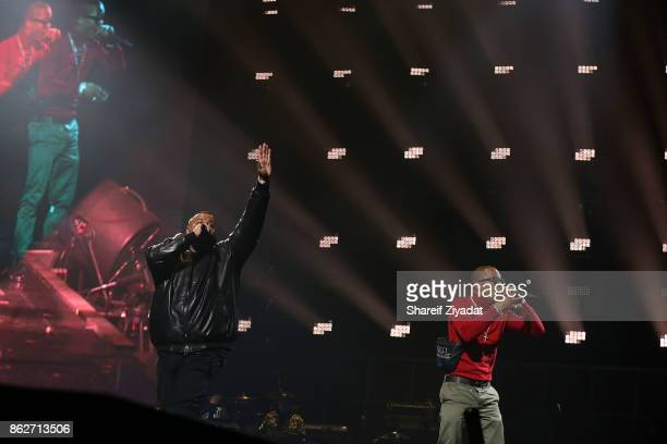 Dj Khaled and TI perform Tidal X Brooklyn at Barclays Center on October 17 2017 in the Brooklyn borough of New York City New York