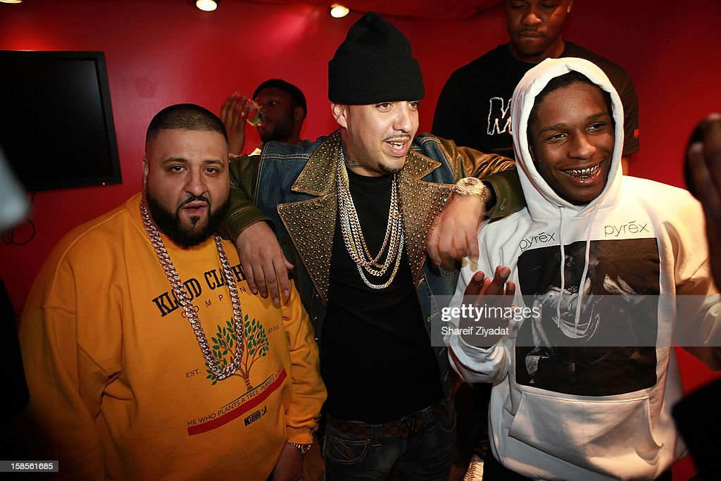 Dj Khaled, <a gi-track='captionPersonalityLinkClicked' href=/galleries/search?phrase=French+Montana&family=editorial&specificpeople=7131467 ng-click='$event.stopPropagation()'>French Montana</a> and A$AP Rocky performs in concert hosted by POWER 105.1 at Best Buy Theater on December 18, 2012 in New York City.