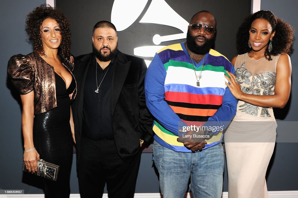 Dj Khaled rapper Rick Ross and singer Kelly Rowland arrive at the 54th Annual GRAMMY Awards held at Staples Center on February 12 2012 in Los Angeles...