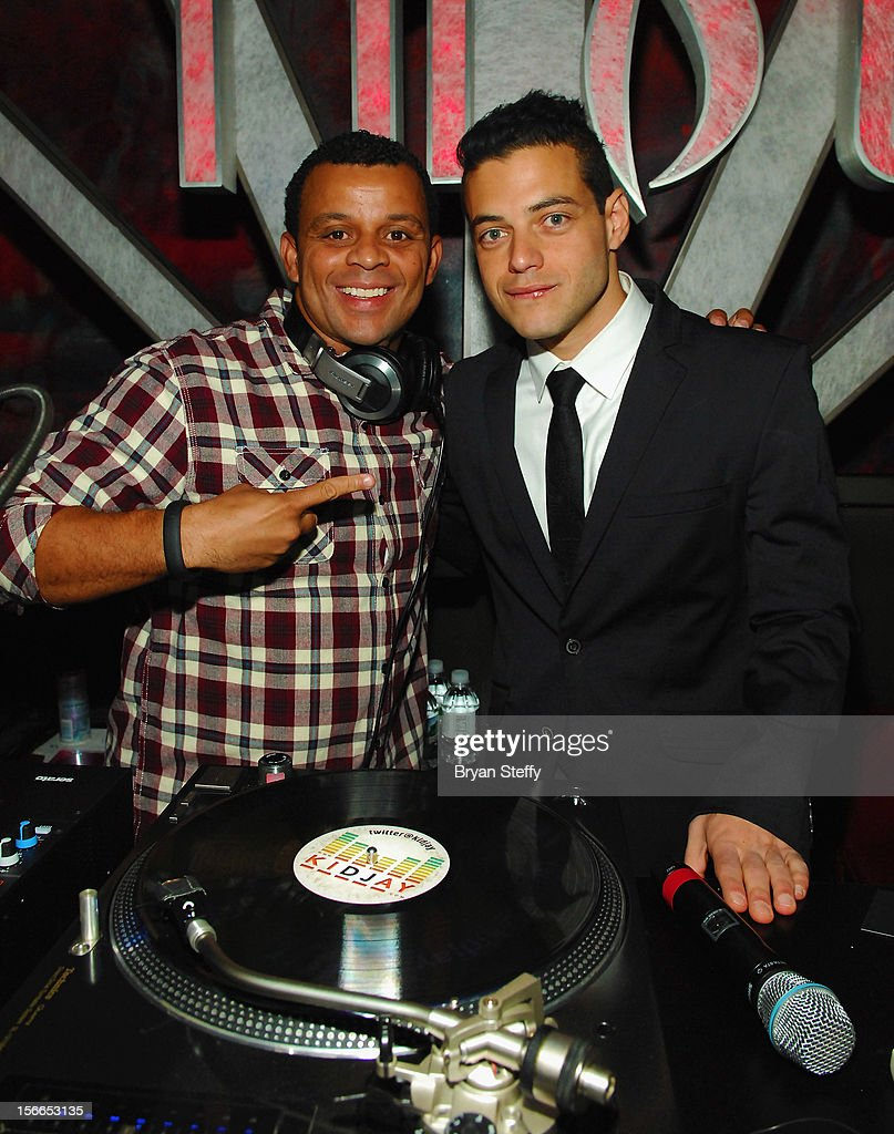 Dj KidJay (L) and actor Rami Malek appear at the Tabu Ultra Lounge at the MGM Grand Hotel/Casinoon November 17, 2012 in Las Vegas, Nevada.