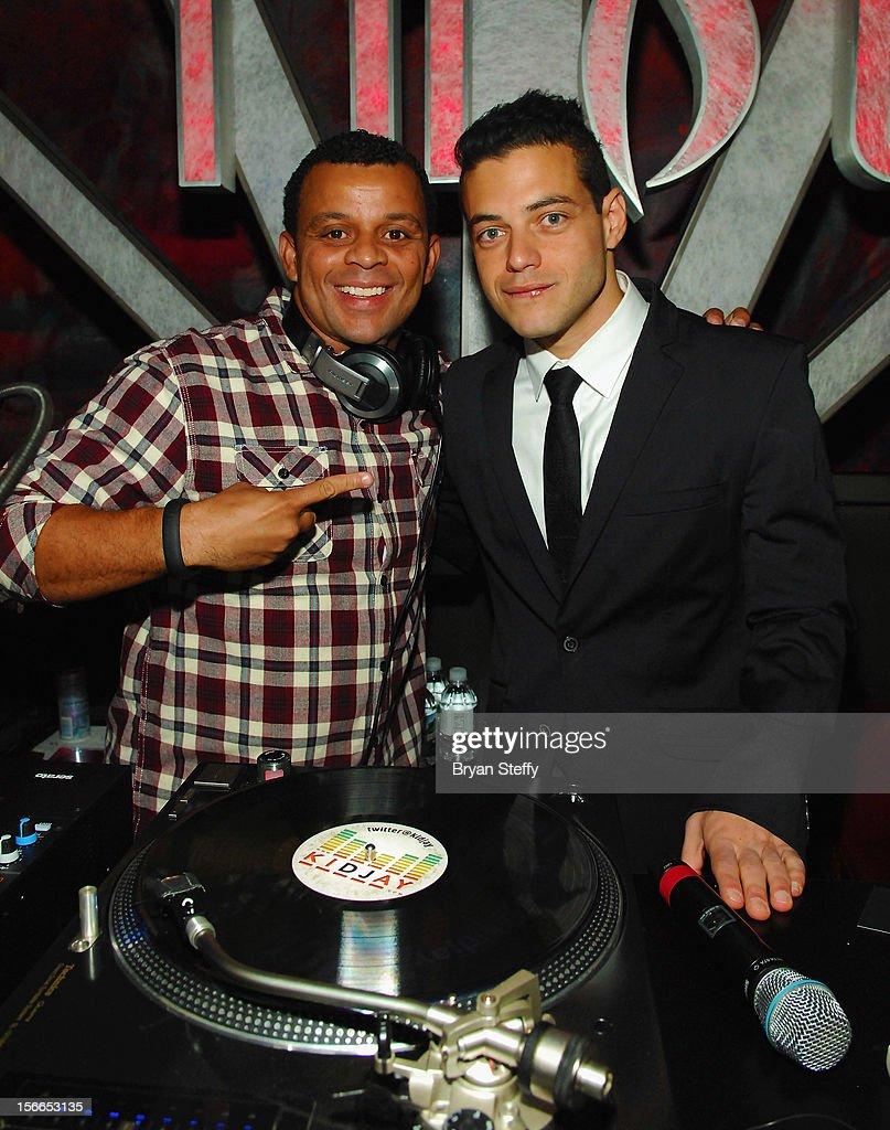 Dj KidJay (L) and actor Rami Malek appear at the Tabu Ultra Lounge at the MGM Grand Hotel/Casinoon November 17, 2012 in Las Vegas, Nevada.