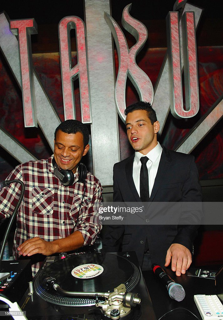 Dj KidJay (L) and actor <a gi-track='captionPersonalityLinkClicked' href=/galleries/search?phrase=Rami+Malek&family=editorial&specificpeople=2194697 ng-click='$event.stopPropagation()'>Rami Malek</a> appear at the Tabu Ultra Lounge at the MGM Grand Hotel/Casinoon November 17, 2012 in Las Vegas, Nevada.
