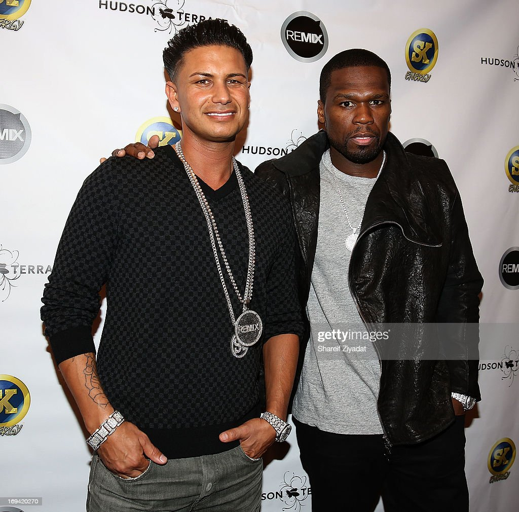 Dj Pauly D and <a gi-track='captionPersonalityLinkClicked' href=/galleries/search?phrase=50+Cent+-+Rapper&family=editorial&specificpeople=215363 ng-click='$event.stopPropagation()'>50 Cent</a> attends Hot Summer Kick Off Party at Hudson Terrace on May 23, 2013 in New York City.