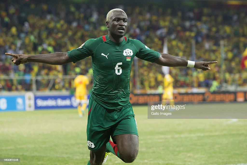Djakaridja Kone of Burkina Faso celebrates the second goal during the 2013 African Cup of Nations match between Burkina Faso and Ethiopia of Mbombela Stadium on January 25, 2013 in Nelspruit, South Africa.