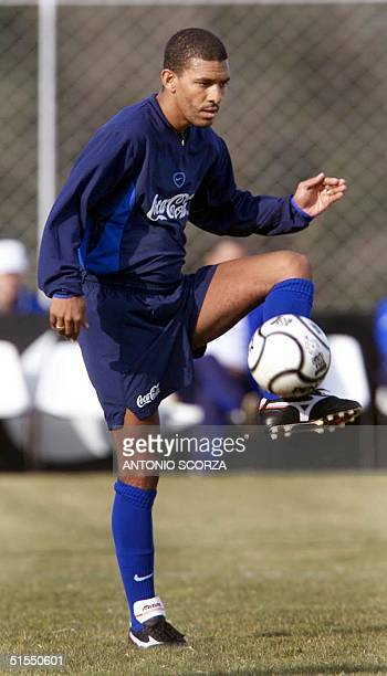 Djalminha a forward for the Brazilian Soccer Selection practices with the ball 15 July 2000 during a practice in Foz de Iguazu Brazil Brazil will...