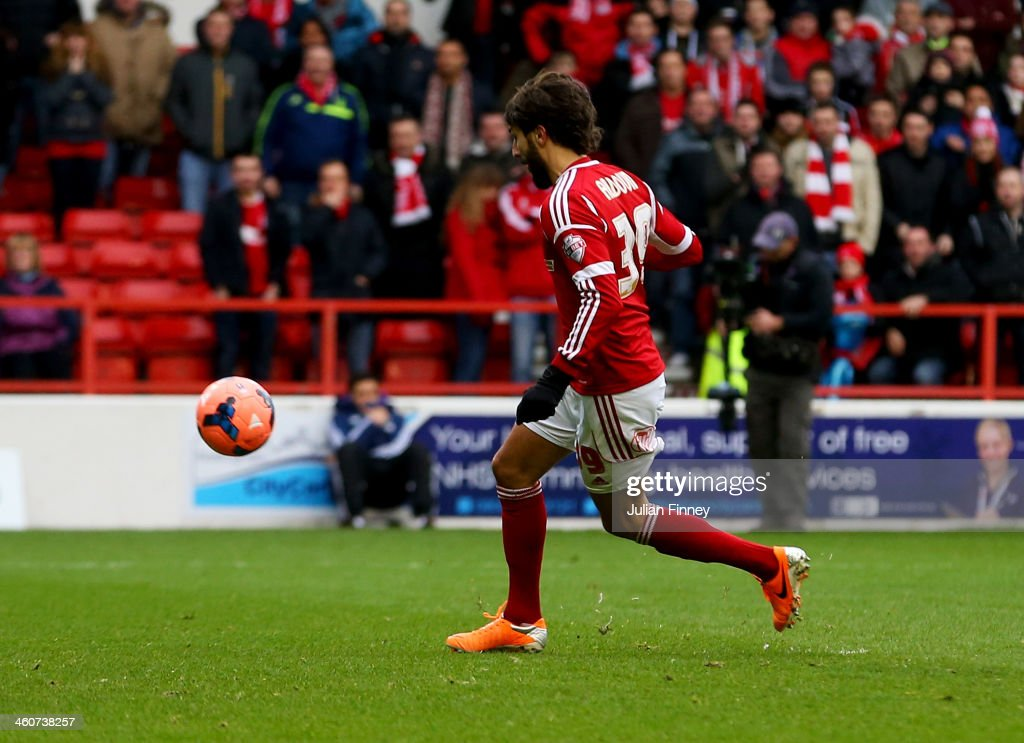 Djamel Abdoun of Nottingham Forest scores their first goal from the penalty spot during the FA Cup with Budweiser Third round match between Nottingham Forest and West Ham United at City Ground on January 5, 2014 in Nottingham, England.