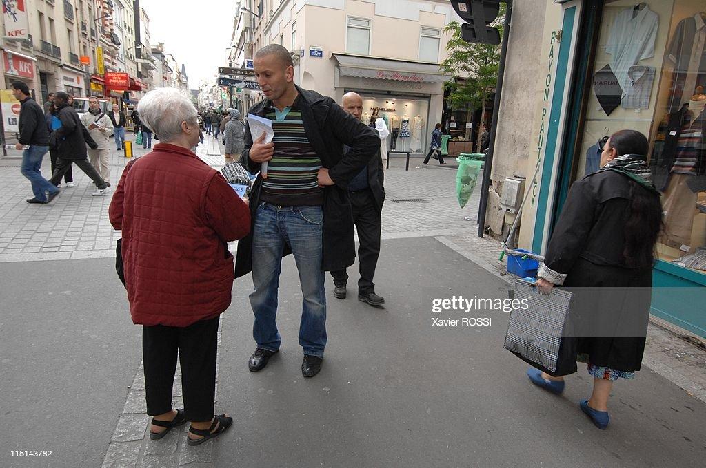 Djamel Bouras MoDem candidate with legislatives in Seine-Saint-Denis, France on May 30, 2007 - In the streets of Saint Denis.
