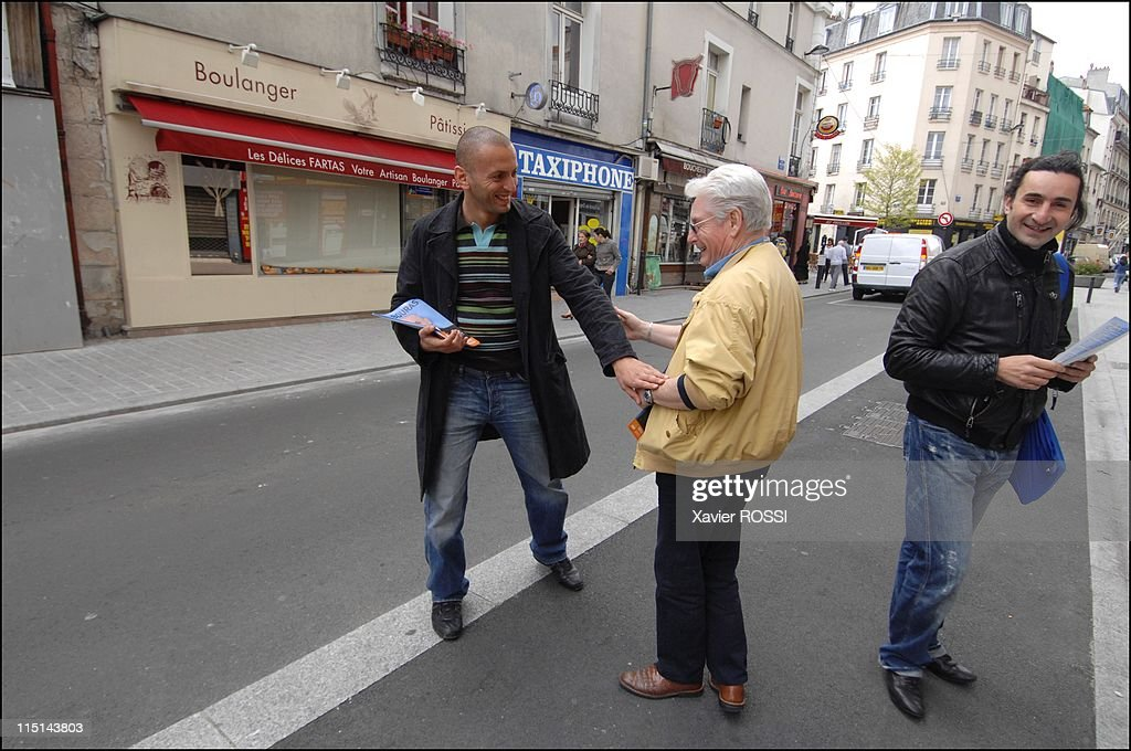 Djamel Bouras MoDem candidate with legislatives in Seine-Saint-Denis, France on May 30, 2007 - In the streets of Saint Denis.