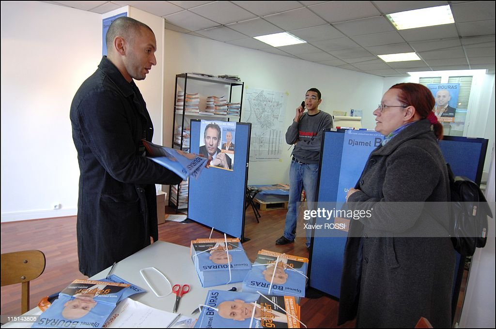 Djamel Bouras MoDem candidate with legislatives in Seine-Saint-Denis, France on May 30, 2007 - In the interior of his permanence in Saint Denis.