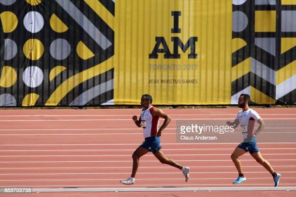 Djamel Mastouri and Jonathan Hamou of France compete in the Men's IT3 1500m Final during Day Three of the Invictus Games 2017 at York Lions Stadium...